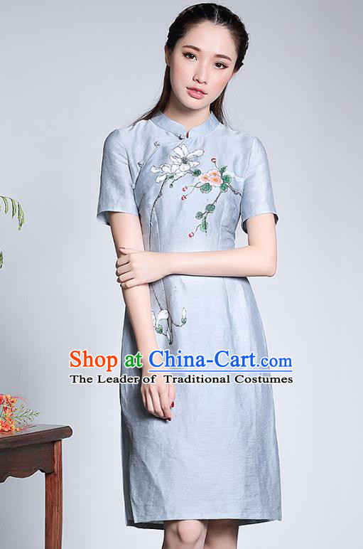 Traditional Chinese National Costume Elegant Hanfu Plated Buttons Blue Linen Qipao, China Tang Suit Hand Painting Cheongsam Dress for Women