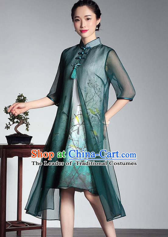 Traditional Chinese National Costume Elegant Hanfu Plated Buttons Qipao, China Tang Suit Green Silk Printing Cheongsam Dress for Women
