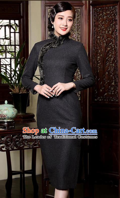Traditional Chinese National Costume Elegant Hanfu Black Wool Qipao Dress, China Tang Suit Plated Buttons Cheongsam for Women