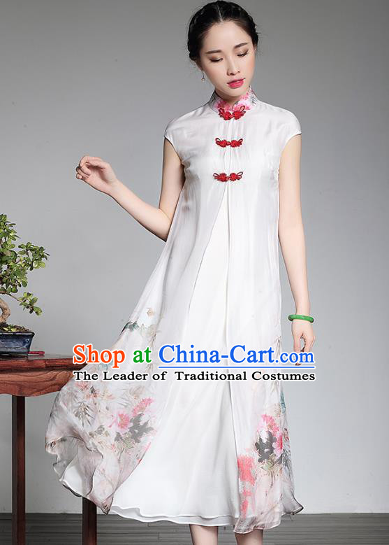 Traditional Chinese National Costume Elegant Hanfu Printing White Silk Qipao Dress, China Tang Suit Plated Buttons Cheongsam for Women