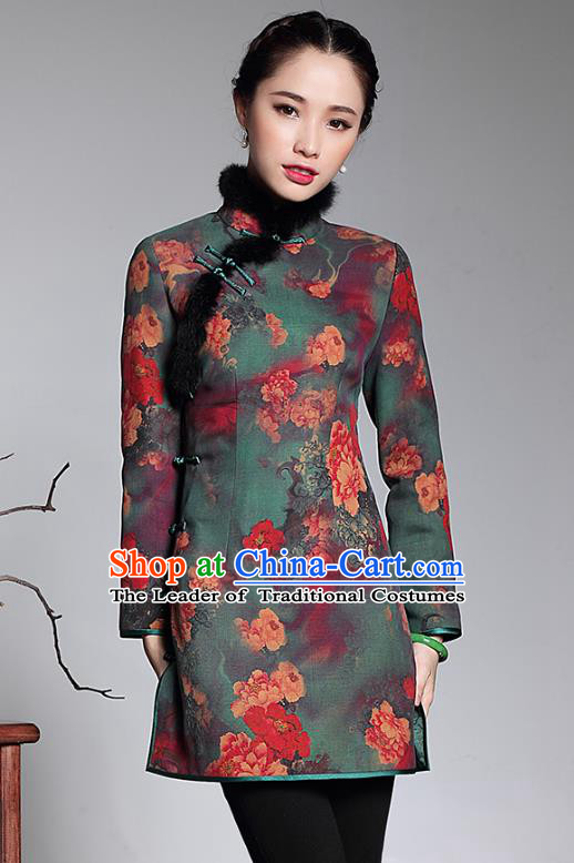 Traditional Chinese National Costume Elegant Hanfu Printing Qipao Jacket, China Tang Suit Plated Buttons Cheongsam Coat for Women