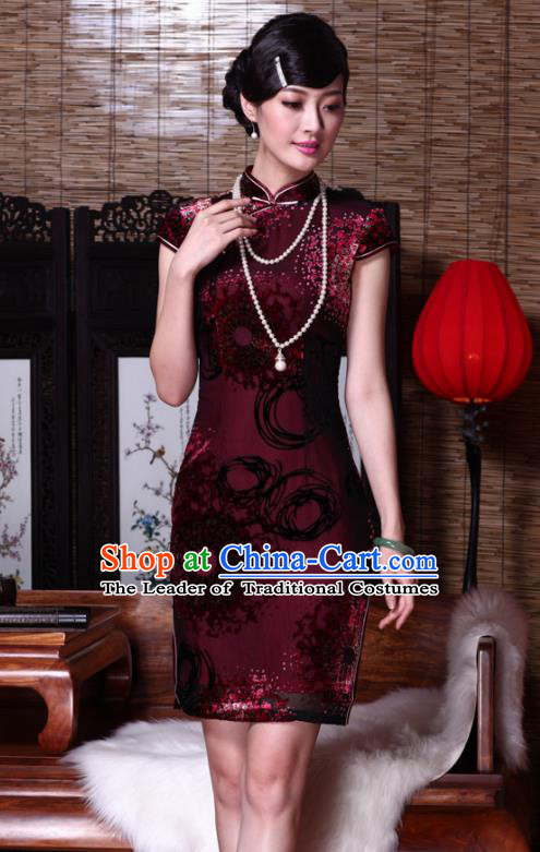 Traditional Chinese National Costume Elegant Hanfu Printing Dandelion Qipao Dress, China Tang Suit Plated Buttons Cheongsam for Women