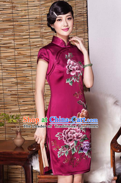 Traditional Chinese National Costume Elegant Hanfu Plated Buttons Qipao, China Tang Suit Rosy Silk Embroidered Cheongsam Dress for Women