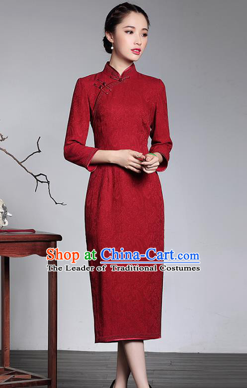 Traditional Chinese National Costume Elegant Hanfu Plated Button Mandarin Qipao, China Tang Suit Red Wedding Cheongsam for Women