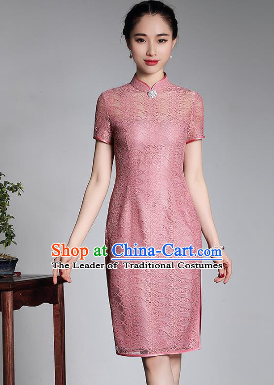 Traditional Chinese National Costume Elegant Hanfu Plated Button Mandarin Qipao, China Tang Suit Pink Lace Cheongsam for Women