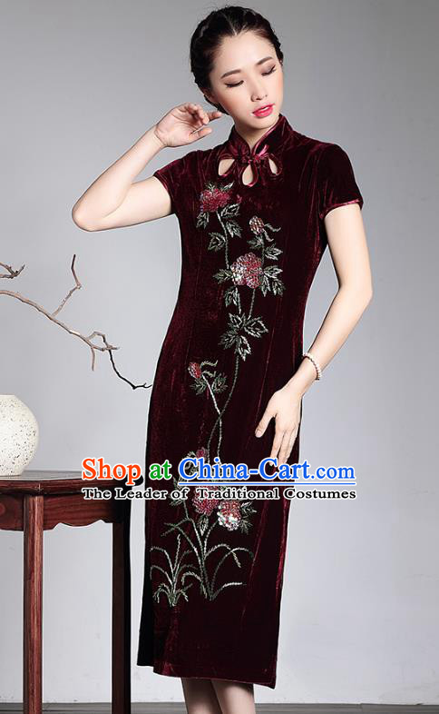 Traditional Chinese National Costume Hanfu Mandarin Qipao Dress, China Tang Suit Red Velvet Cheongsam for Women