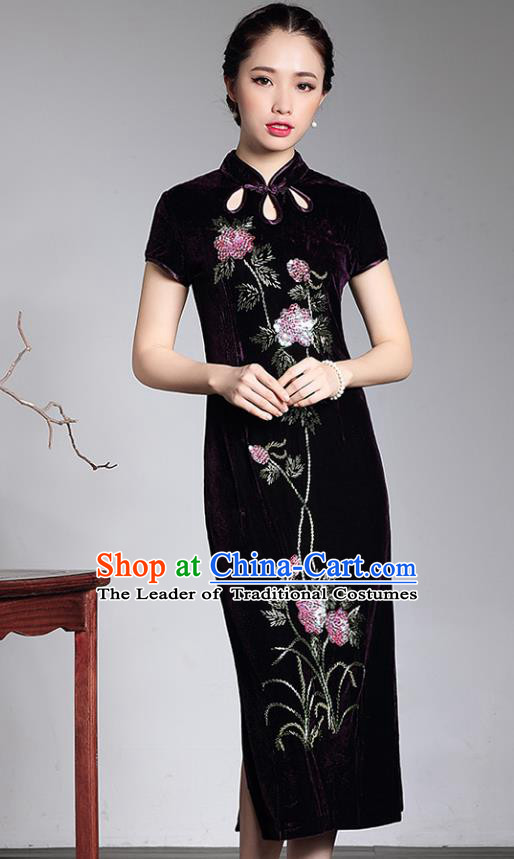 Traditional Chinese National Costume Hanfu Mandarin Qipao Dress, China Tang Suit Purple Velvet Cheongsam for Women
