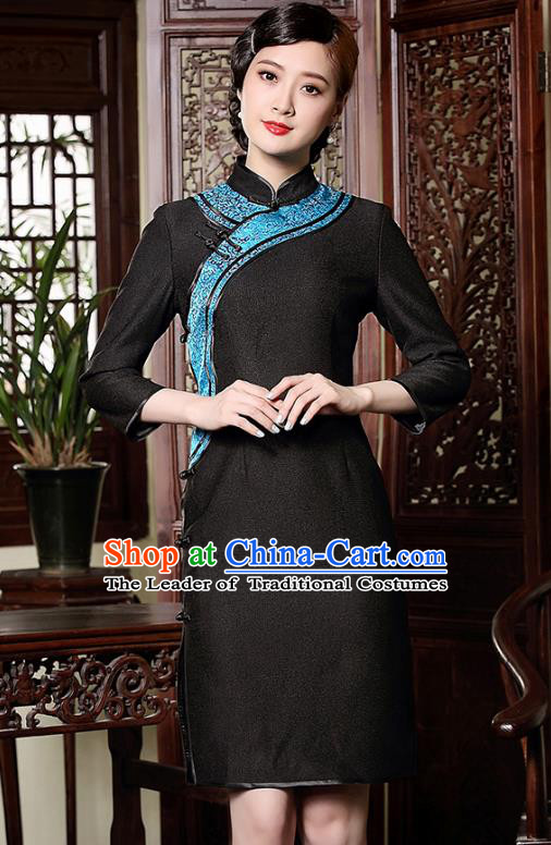 Traditional Chinese National Costume Hanfu Mandarin Qipao Dress, China Tang Suit Black Cheongsam for Women