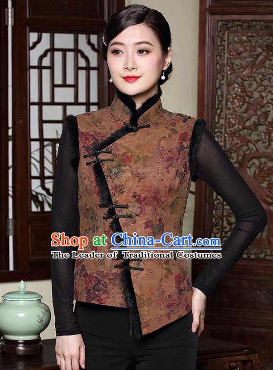 Traditional Chinese National Costume Hanfu Plated Button Cotton-padded Vest, China Tang Suit Upper Outer Garment Cheongsam Waistcoat for Women
