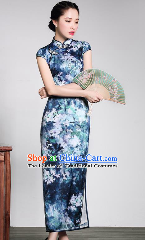 Traditional Chinese National Costume Hanfu Plated Button Blue Silk Qipao Dress, China Tang Suit Cheongsam for Women