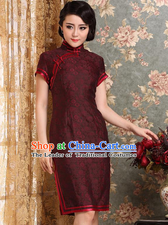 Traditional Chinese National Costume Hanfu Plated Button Red Silk Qipao Dress, China Tang Suit Cheongsam for Women