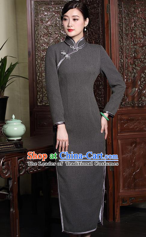 Traditional Chinese National Costume Hanfu Plated Button Grey Qipao Dress, China Tang Suit Cheongsam for Women