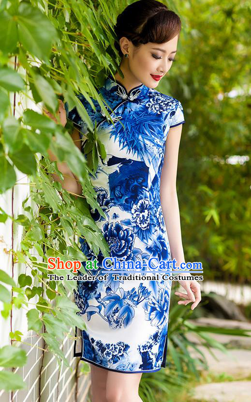 Traditional Chinese National Costume Hanfu Plated Button Printing Peony Blue Qipao Dress, China Tang Suit Cheongsam for Women