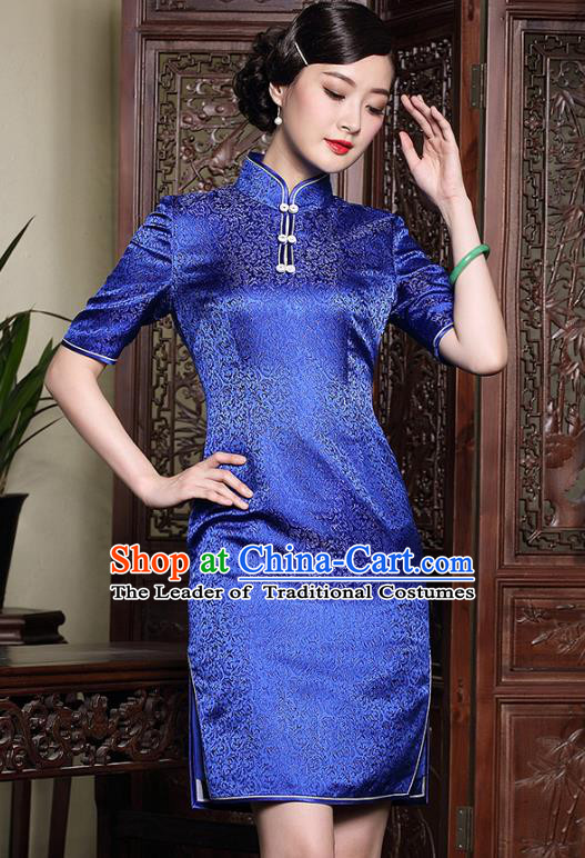 Traditional Chinese National Costume Hanfu Plated Button Blue Brocade Qipao Dress, China Tang Suit Cheongsam for Women