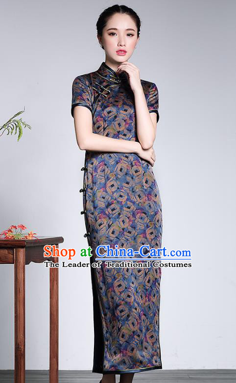 Traditional Chinese National Costume Silk Cheongsam, China Tang Suit Chirpaur Qipao Dress for Women
