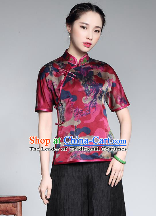 Traditional Chinese National Costume Elegant Hanfu Plated Button Shirt, China Tang Suit Upper Outer Garment Cheongsam Silk Blouse for Women