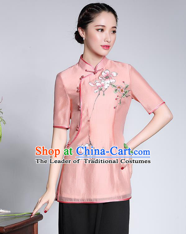 Traditional Chinese National Costume Pink Hand Painting Jacket, China Tang Suit Chirpaur Upper Outer Garment Qipao Coat for Women