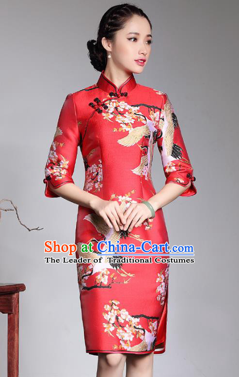 Traditional Chinese National Costume Red Wedding Qipao Dress, China Tang Suit Chirpaur Brocade Cheongsam for Women