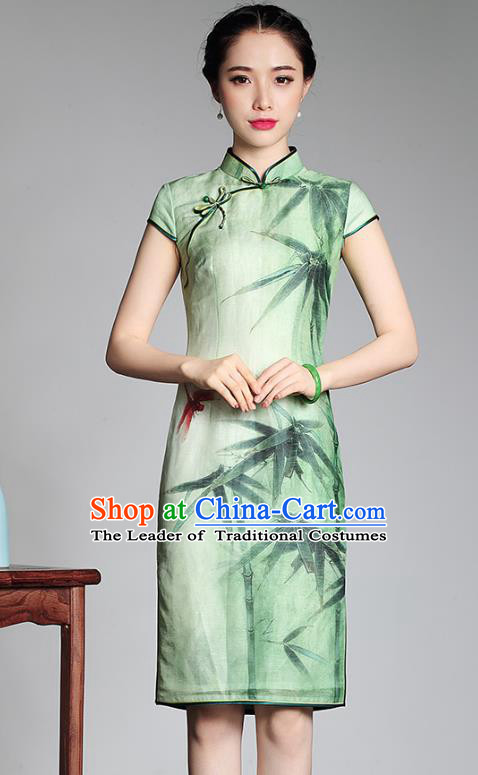 Traditional Chinese National Costume Ink Painting Bamboo Qipao Dress, China Tang Suit Chirpaur Green Cheongsam for Women