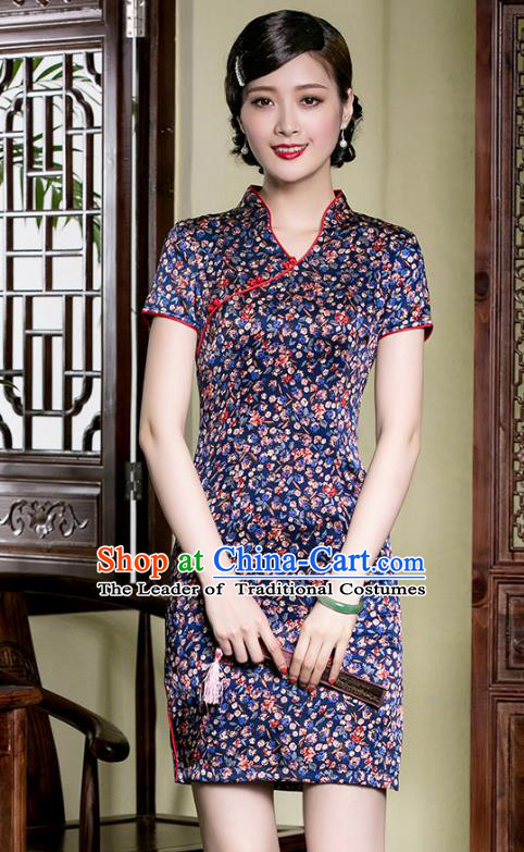 Traditional Chinese National Costume Purple Silk Qipao Dress, China Tang Suit Chirpaur Cheongsam for Women