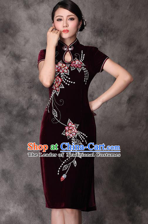 Traditional Chinese National Costume Wine Red Velvet Qipao Dress, China Tang Suit Chirpaur Cheongsam for Women