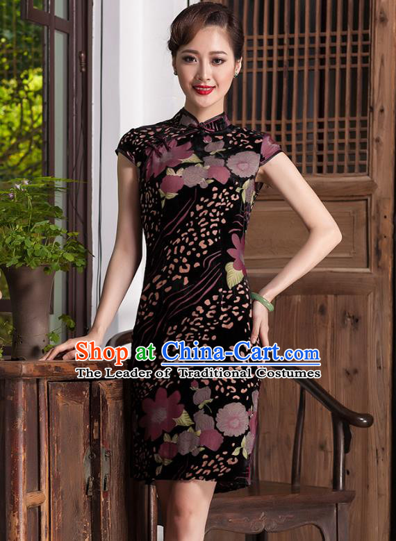 Traditional Chinese National Costume Velvet Qipao Dress, China Tang Suit Chirpaur Cheongsam for Women