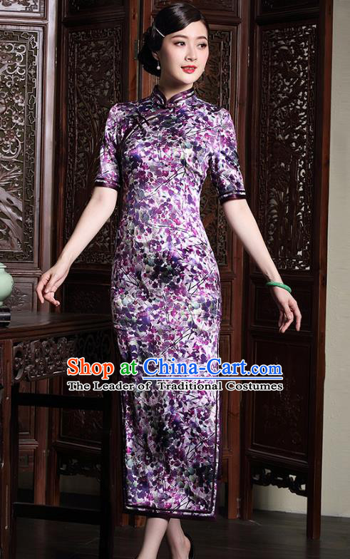 Traditional Chinese National Costume Elegant Hanfu Plated Button Mandarin Qipao, China Tang Suit Purple Silk Cheongsam for Women