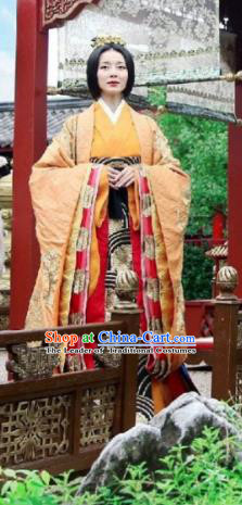 Asian China Han Dynasty Senior Concubine Hanfu Costume and Headpiece Complete Set, Traditional Chinese Ancient Palace Embroidered Clothing for Women