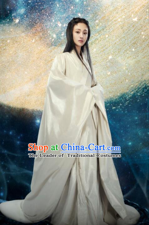 Asian China Han Dynasty Palace Lady Fairy Hanfu Costume and Headpiece Complete Set, Traditional Chinese Ancient Princess Embroidered Clothing for Women