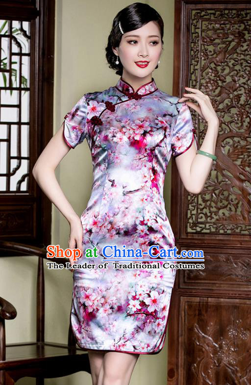 Traditional Chinese National Costume Purple Silk Qipao Dress, China Tang Suit Chirpaur Mulberry Silk Cheongsam for Women