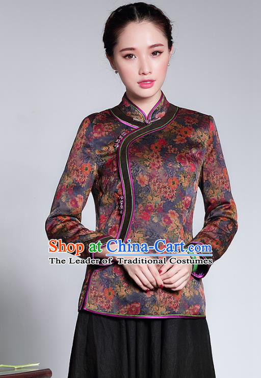 Traditional Chinese National Costume Qipao Upper Outer Garment, China Tang Suit Chirpaur Shirt Cheongsam Blouse for Women