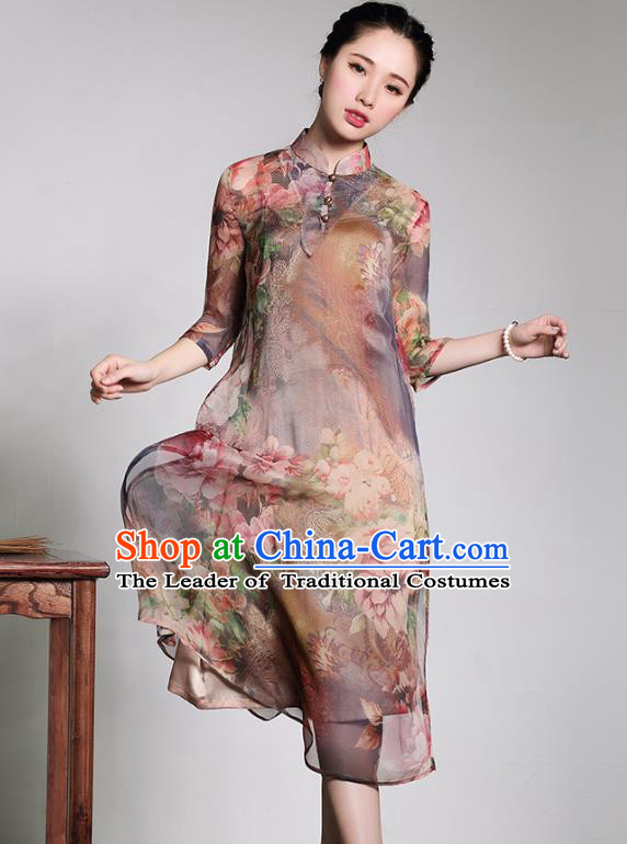 Traditional Chinese National Costume Silk Qipao Dress, China Tang Suit Chirpaur Chiffon Cheongsam for Women