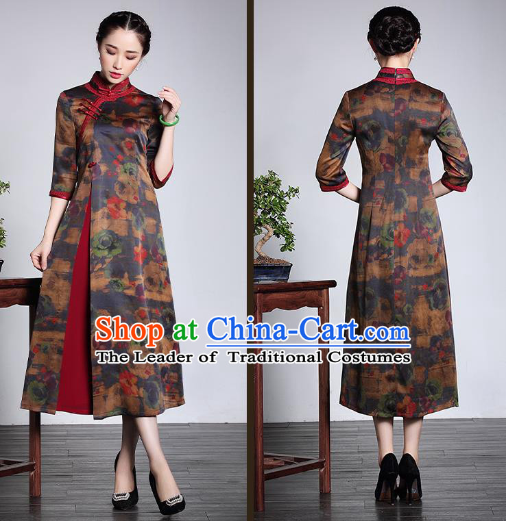 Traditional Ancient Chinese Young Women Cheongsam Dress Republic of China Tangsuit Stand Collar Blouse Dress Tang Suit Clothing for Women