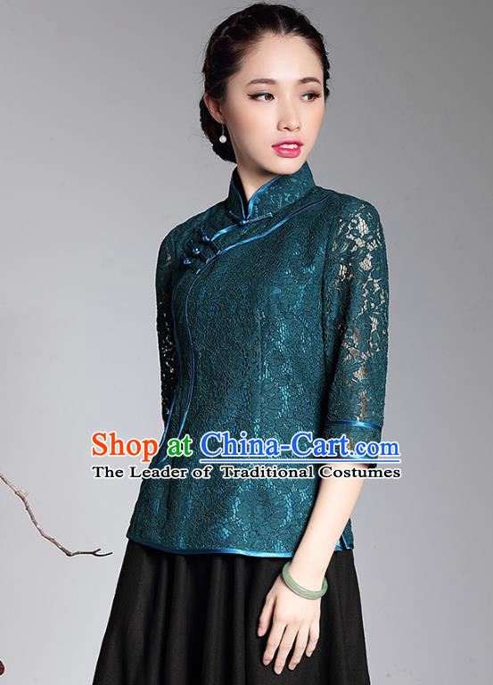 Traditional Chinese National Costume Plated Buttons Green Lace Qipao Shirts, China Tang Suit Chirpaur Cheongsam Blouse for Women