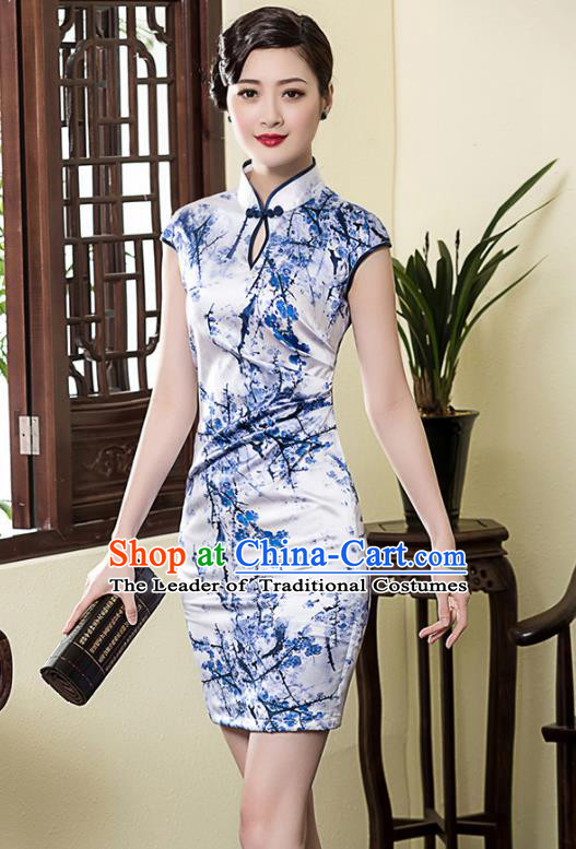 Traditional Chinese National Costume Plated Buttons Printing Wintersweet Qipao, China Tang Suit Chirpaur Silk Cheongsam for Women