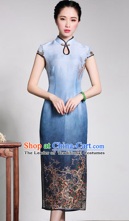 Traditional Chinese National Costume Plated Buttons Qipao Dress, China Tang Suit Chirpaur Blue Silk Cheongsam for Women