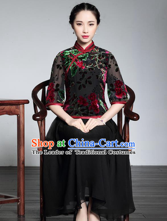 Traditional Chinese National Costume Plated Buttons Qipao Dress, China Tang Suit Chirpaur Silk Cheongsam for Women