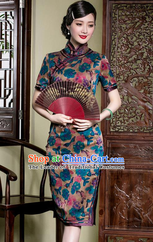 Traditional Chinese National Costume Plated Buttons Qipao, China Tang Suit Chirpaur Dress Silk Cheongsam for Women