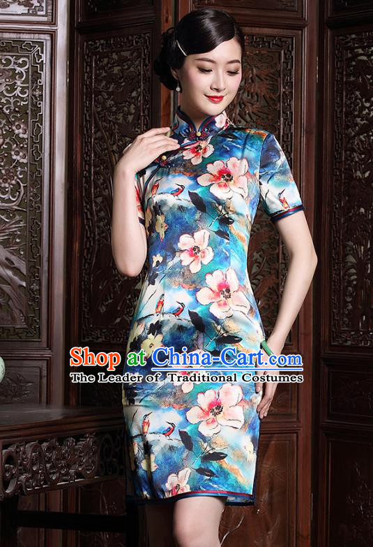 Traditional Chinese National Costume Plated Buttons Qipao, China Tang Suit Chirpaur Full Dress Silk Cheongsam for Women