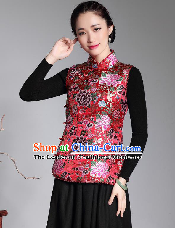 Traditional Chinese National Costume Plated Buttons Red Vest, China Tang Suit Chirpaur Upper Outer Garment Top Grade Brocade Waistcoat for Women