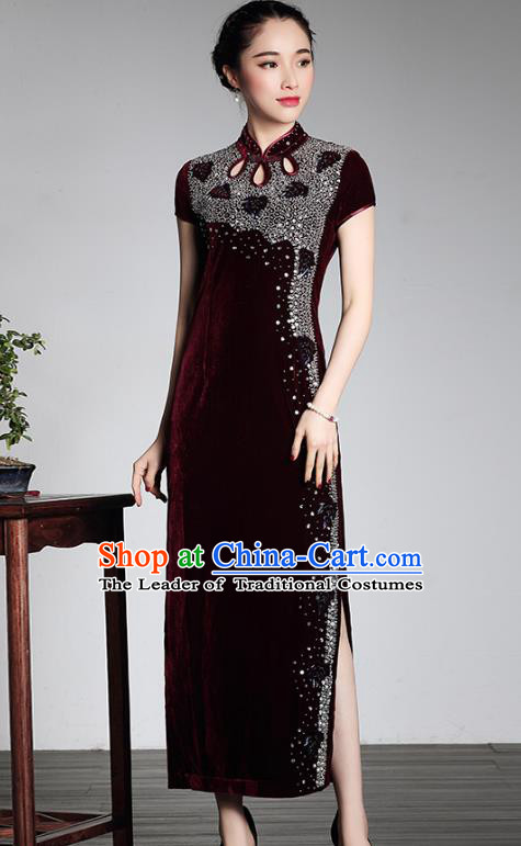 Traditional Chinese National Costume Plated Buttons Qipao, China Tang Suit Embroidered Chirpaur Top Grade Velvet Cheongsam for Women
