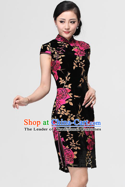 Traditional Chinese National Costume Plated Buttons Qipao, China Tang Suit Chirpaur Top Grade Velvet Cheongsam for Women