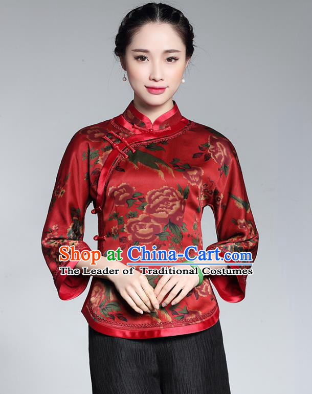 Traditional Chinese National Costume Plated Buttons Red Silk Qipao Blouse, Top Grade Tang Suit Shirts Cheongsam Upper Outer Garment for Women