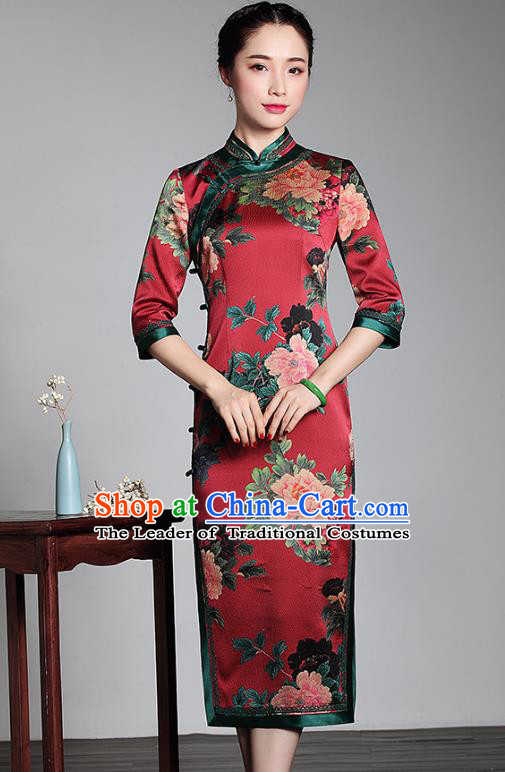 Traditional Chinese National Costume Plated Buttons Red Silk Qipao Dress, Top Grade Tang Suit Stand Collar Cheongsam for Women