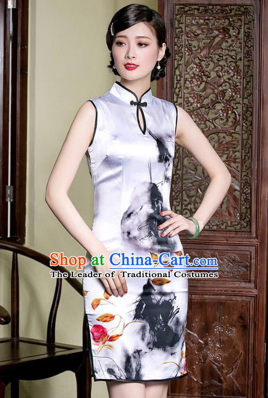Traditional Chinese National Costume Plated Buttons Ink Painting Lotus Silk Qipao Dress, Top Grade Tang Suit Stand Collar Cheongsam for Women