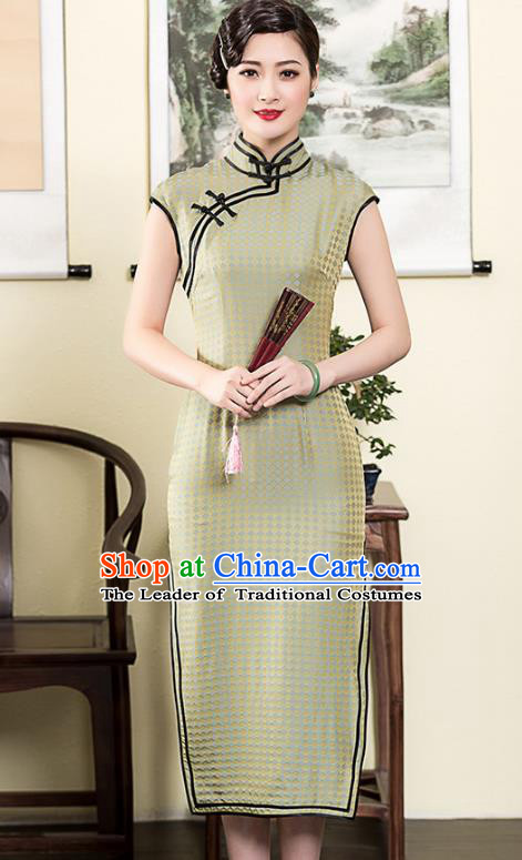 Traditional Chinese National Costume Plated Buttons Green Silk Qipao Dress, Top Grade Tang Suit Stand Collar Cheongsam for Women