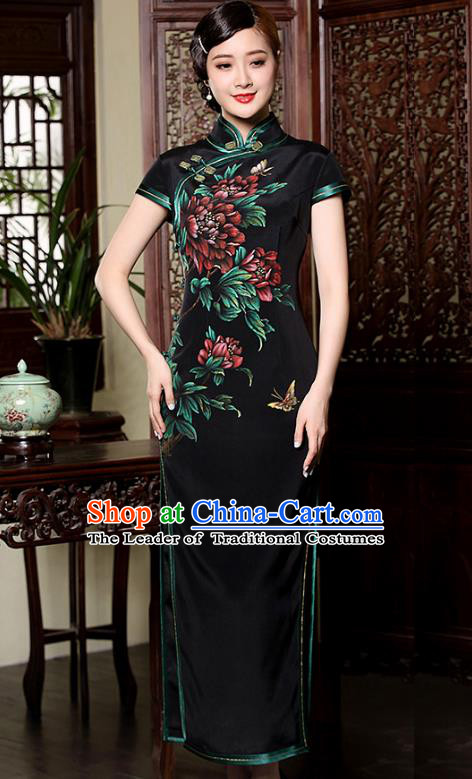 Traditional Chinese National Costume Plated Buttons Black Silk Qipao Dress, Top Grade Tang Suit Stand Collar Printing Cheongsam for Women