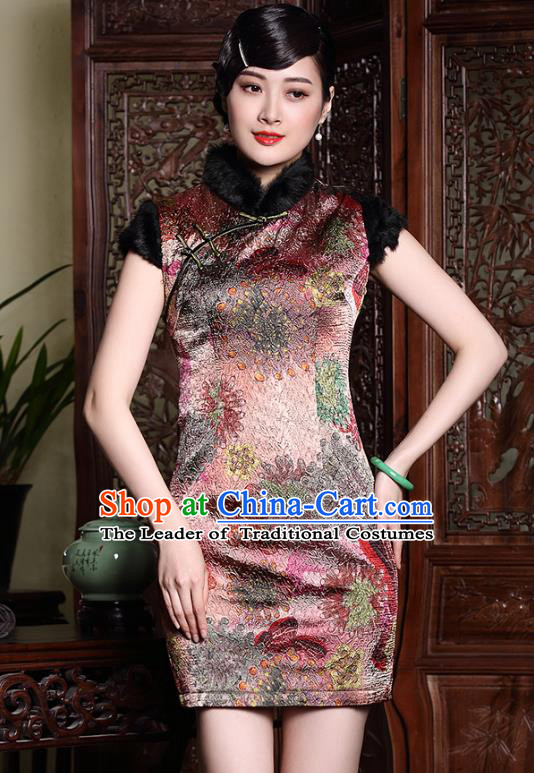 Traditional Chinese National Costume Plated Buttons Silk Short Qipao Dress, Top Grade Tang Suit Stand Collar Printing Cheongsam for Women