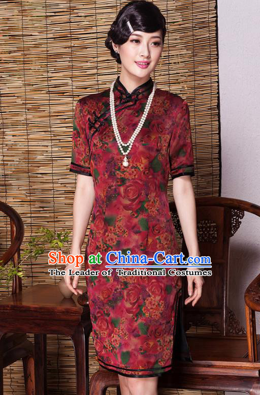 Traditional Chinese National Costume Plated Buttons Qipao, China Tang Suit Chirpaur Top Grade Red Silk Cheongsam for Women