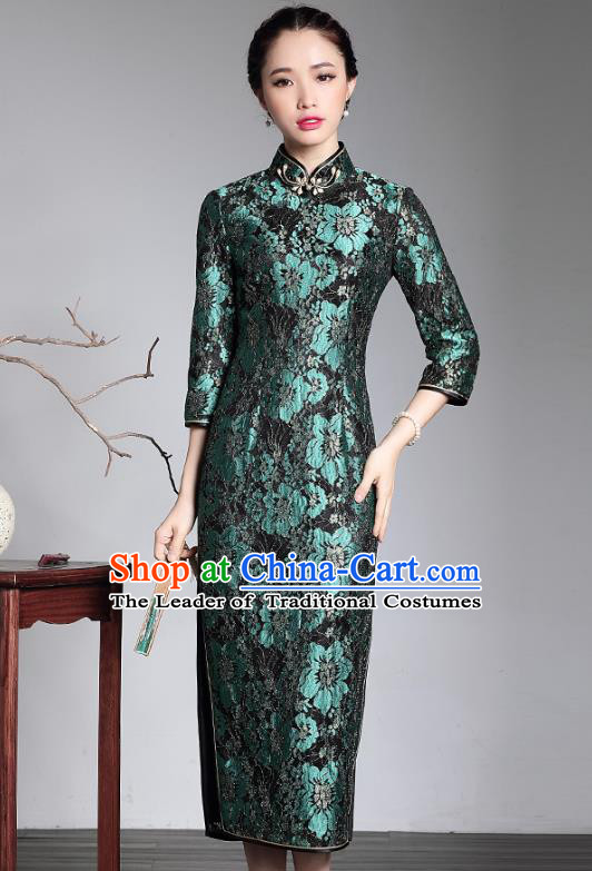 Traditional Chinese National Costume Plated Buttons Green Lace Long Qipao Dress, Top Grade Tang Suit Stand Collar Cheongsam for Women